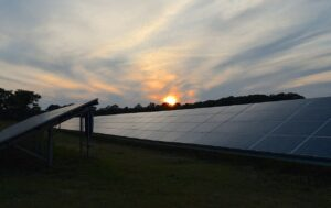 solar panels, sunset, sky